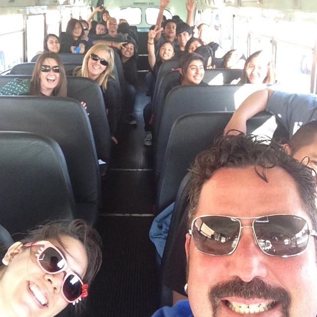 A photo on the school bus can only mean one thing: it's field trip time!